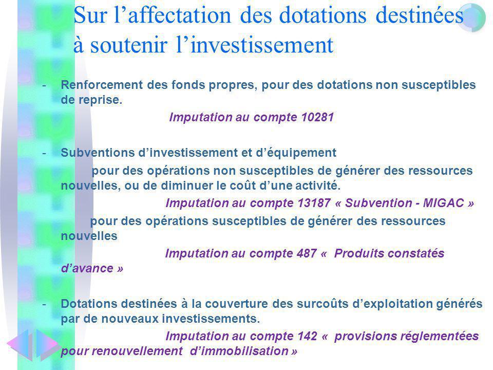 Sur l'affectation des dotations destinées à soutenir l'investissement