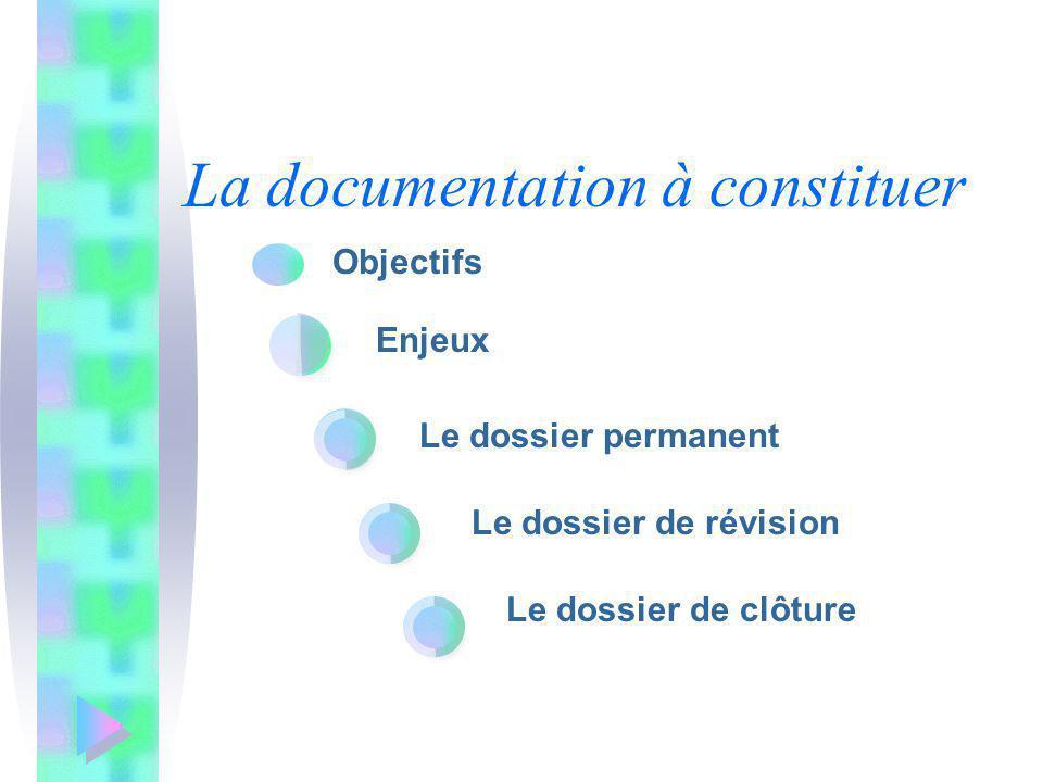 La documentation à constituer