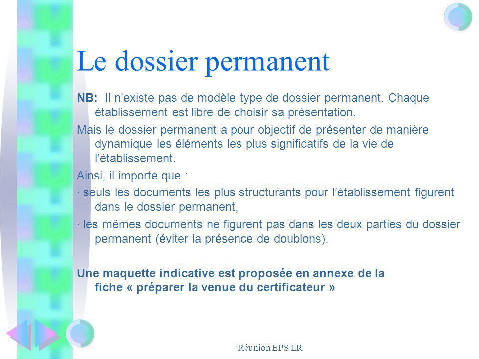 Le dossier permanent NB: Il n'existe pas de modèle type de dossier permanent. Chaque établissement est libre de choisir sa présentation.