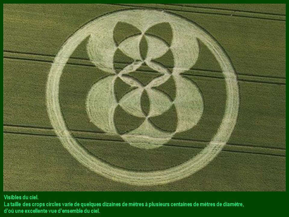 Visibles du ciel. La taille des crops circles varie de quelques dizaines de mètres à plusieurs centaines de mètres de diamètre,