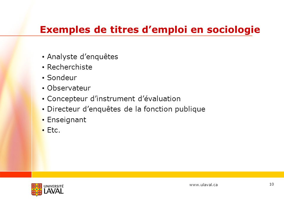 Exemples de titres d'emploi en sociologie