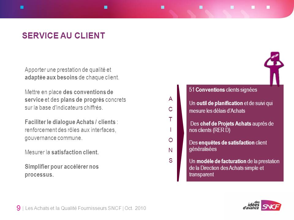 SERVICE AU CLIENT Apporter une prestation de qualité et adaptée aux besoins de chaque client.