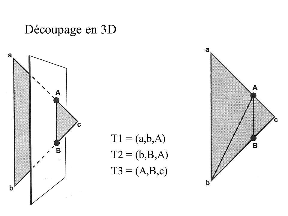 Découpage en 3D T1 = (a,b,A) T2 = (b,B,A) T3 = (A,B,c)