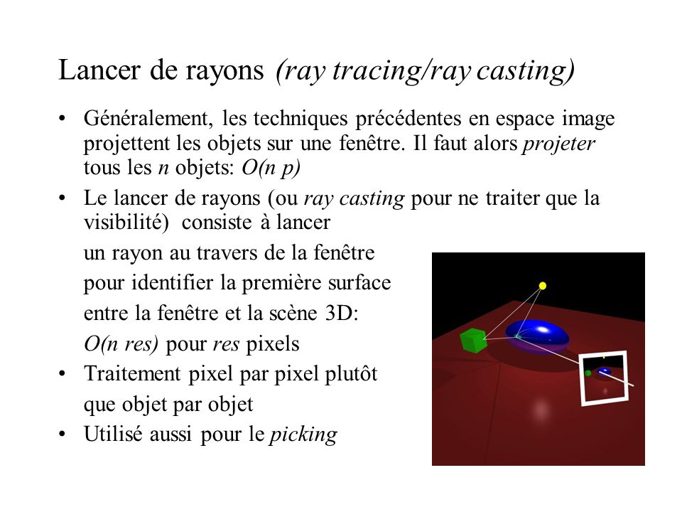 Lancer de rayons (ray tracing/ray casting)‏