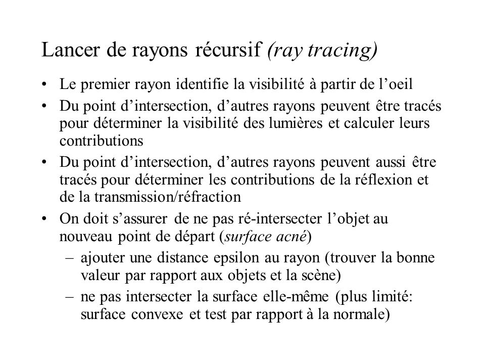 Lancer de rayons récursif (ray tracing)‏