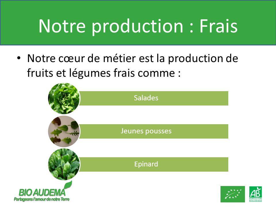 Notre production : Frais