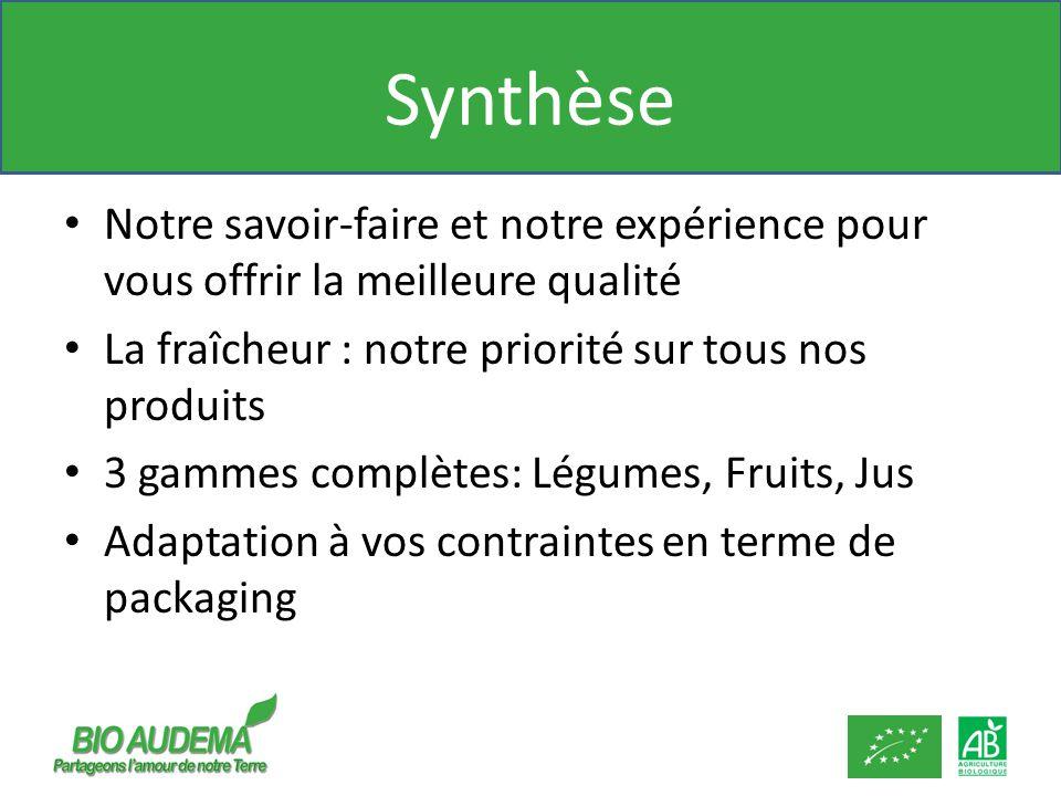 Synthèse Notre savoir-faire et notre expérience pour vous offrir la meilleure qualité. La fraîcheur : notre priorité sur tous nos produits.