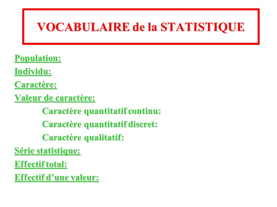 VOCABULAIRE de la STATISTIQUE