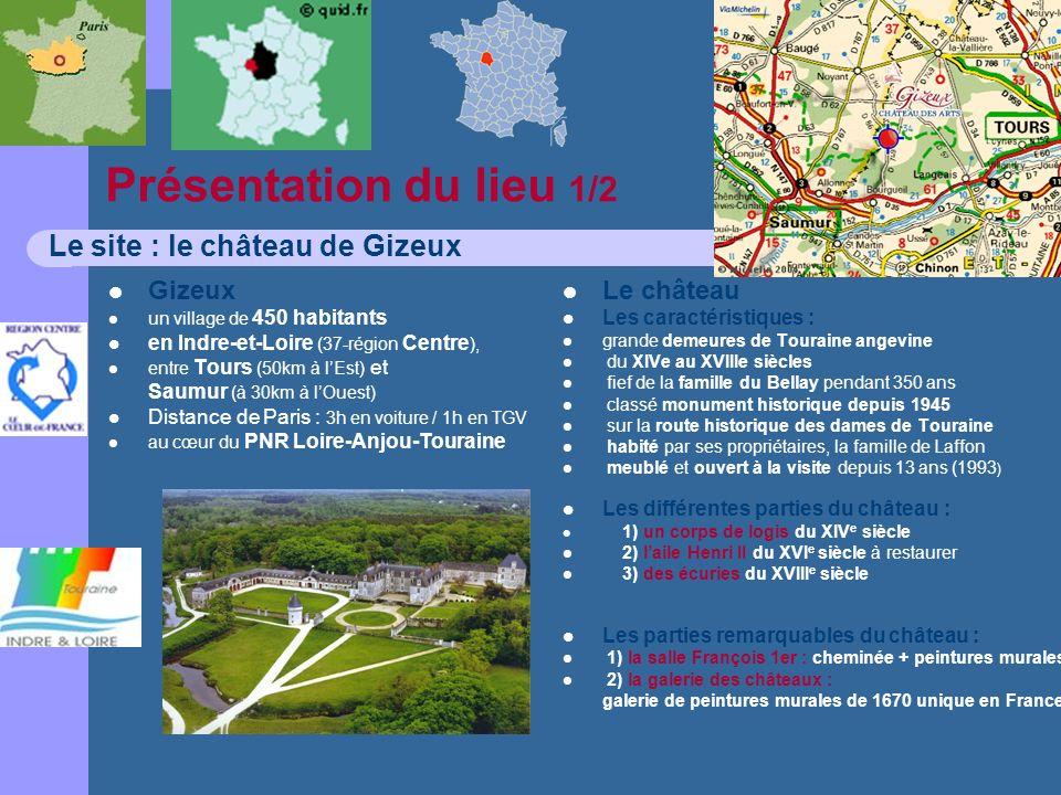 Présentation du lieu 1/2 Le site : le château de Gizeux Gizeux