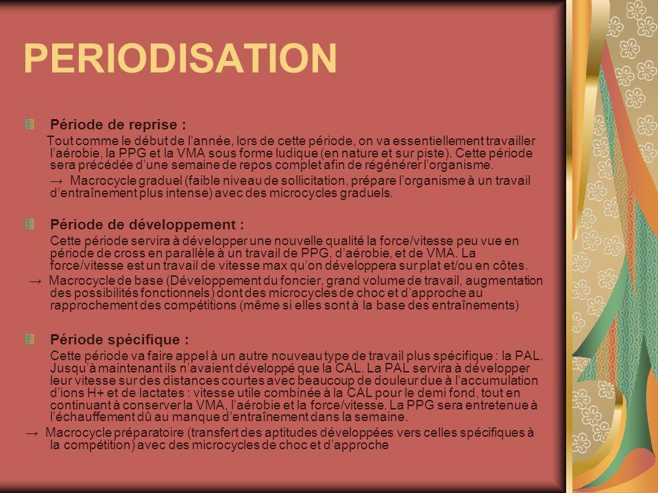 PERIODISATION Période de reprise : Période de développement :