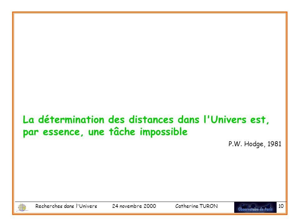 La détermination des distances dans l Univers est, par essence, une tâche impossible