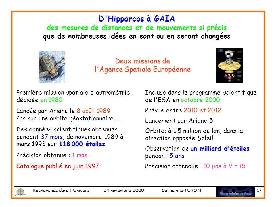 Deux missions de l Agence Spatiale Européenne