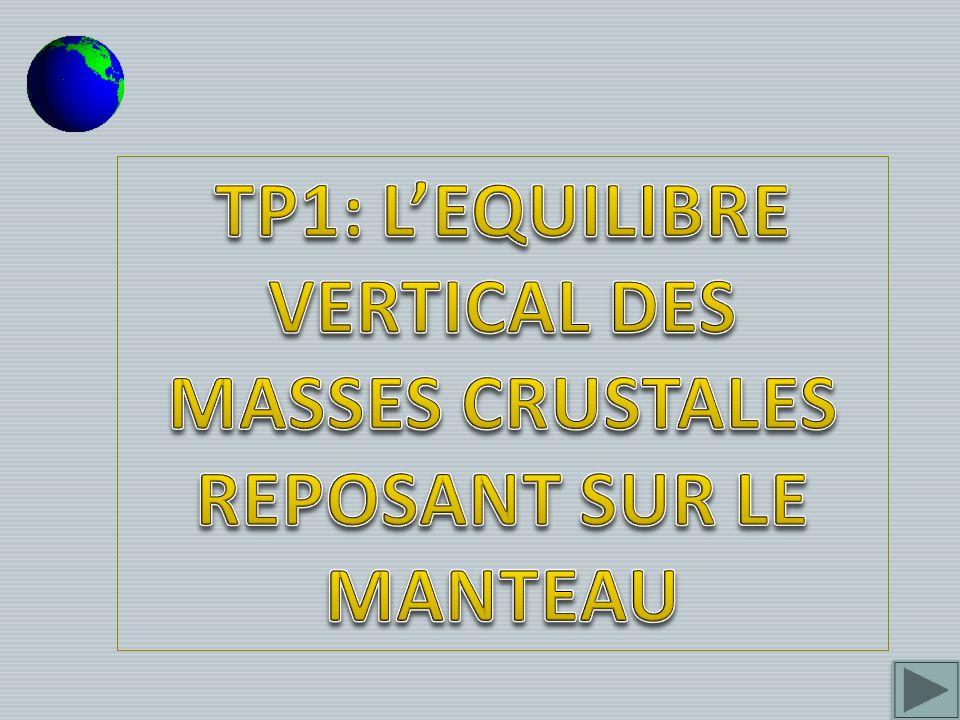 TP1: L'EQUILIBRE VERTICAL DES MASSES CRUSTALES REPOSANT SUR LE MANTEAU