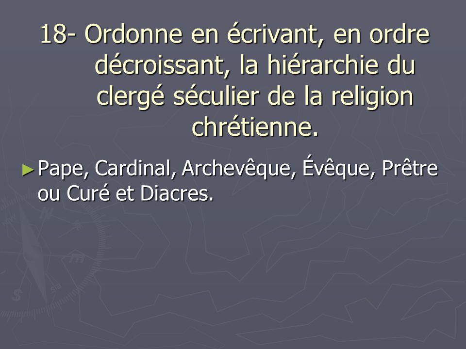 18- Ordonne en écrivant, en ordre décroissant, la hiérarchie du clergé séculier de la religion chrétienne.