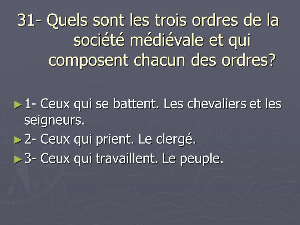 31- Quels sont les trois ordres de la société médiévale et qui composent chacun des ordres