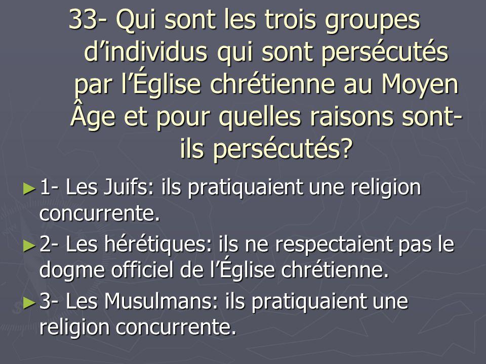 33- Qui sont les trois groupes d'individus qui sont persécutés par l'Église chrétienne au Moyen Âge et pour quelles raisons sont-ils persécutés