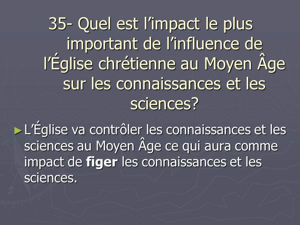 35- Quel est l'impact le plus important de l'influence de l'Église chrétienne au Moyen Âge sur les connaissances et les sciences
