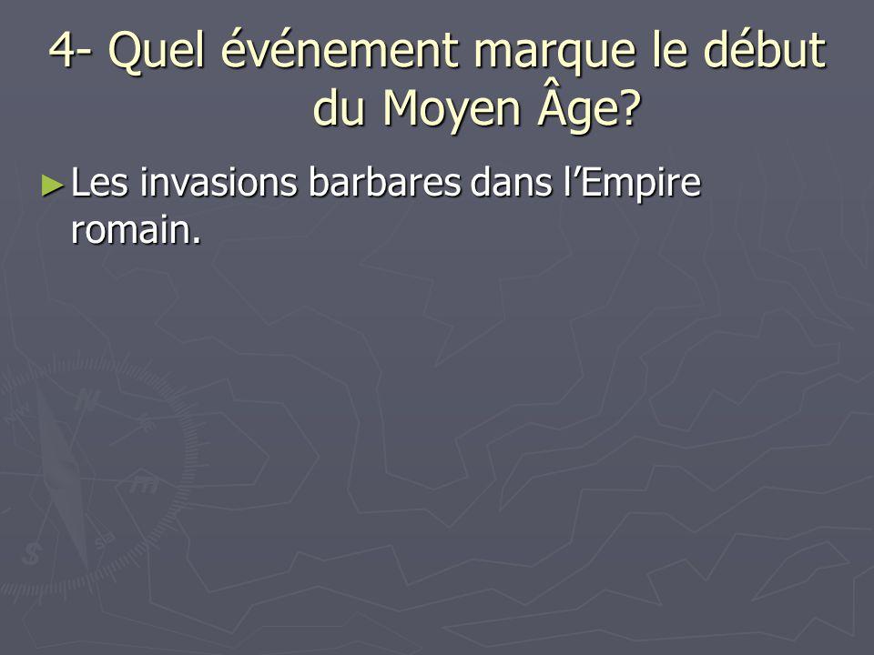 4- Quel événement marque le début du Moyen Âge