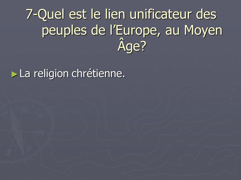 7-Quel est le lien unificateur des peuples de l'Europe, au Moyen Âge
