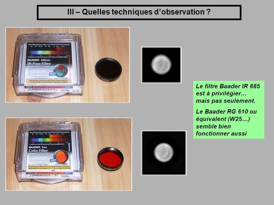 III – Quelles techniques d'observation