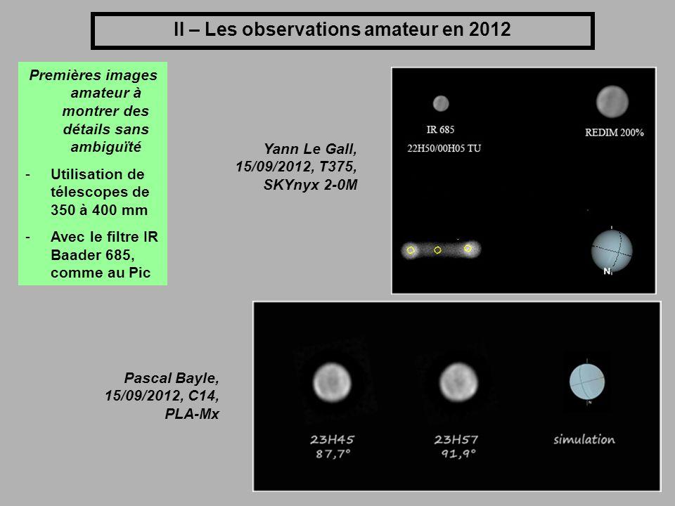 II – Les observations amateur en 2012