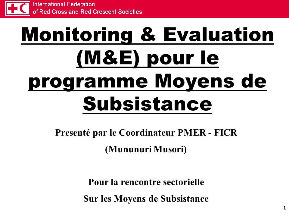 Monitoring & Evaluation (M&E) pour le programme Moyens de Subsistance