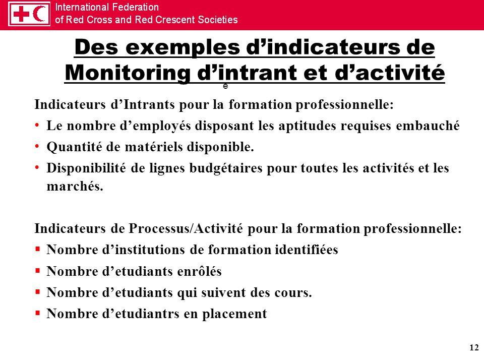 Des exemples d'indicateurs de Monitoring d'intrant et d'activité