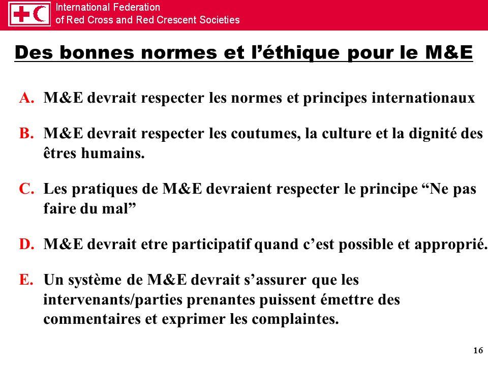 Des bonnes normes et l'éthique pour le M&E