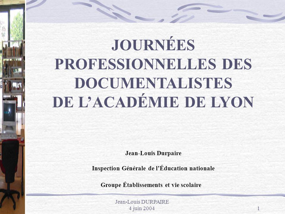 JOURNÉES PROFESSIONNELLES DES DOCUMENTALISTES DE L'ACADÉMIE DE LYON