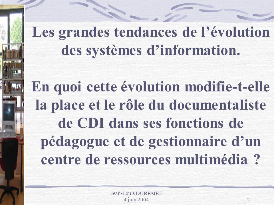 Les grandes tendances de l'évolution des systèmes d'information.