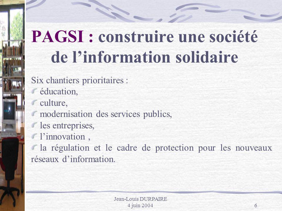 PAGSI : construire une société de l'information solidaire