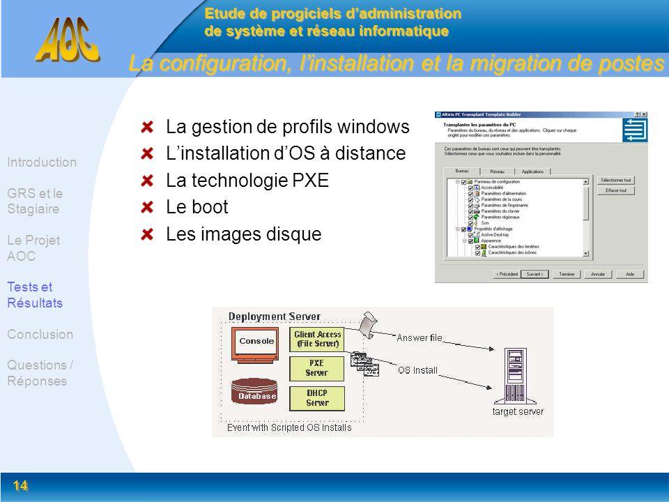 La configuration, l'installation et la migration de postes