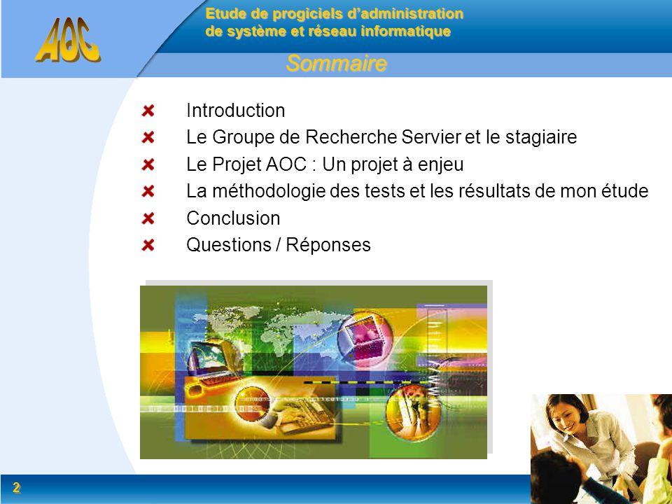 Sommaire Introduction Le Groupe de Recherche Servier et le stagiaire