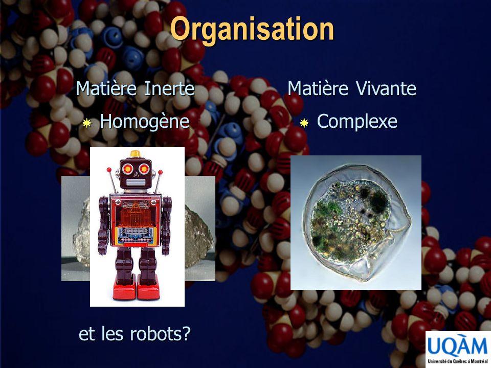 Organisation Matière Inerte Matière Vivante Homogène Complexe