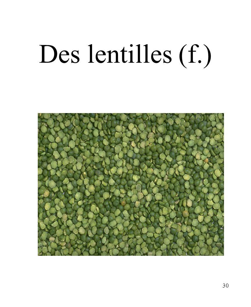 CHAPITRE 8 LES ALIMENTS 3/25/2017 Des lentilles (f.) Madame Craven