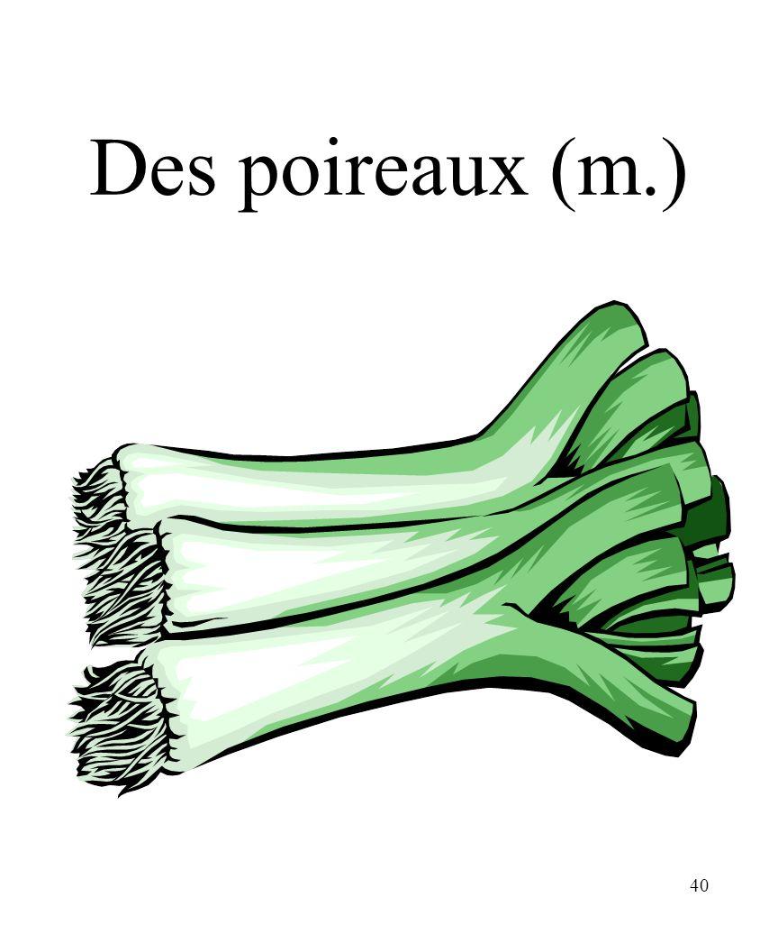 CHAPITRE 8 LES ALIMENTS 3/25/2017 Des poireaux (m.) Madame Craven