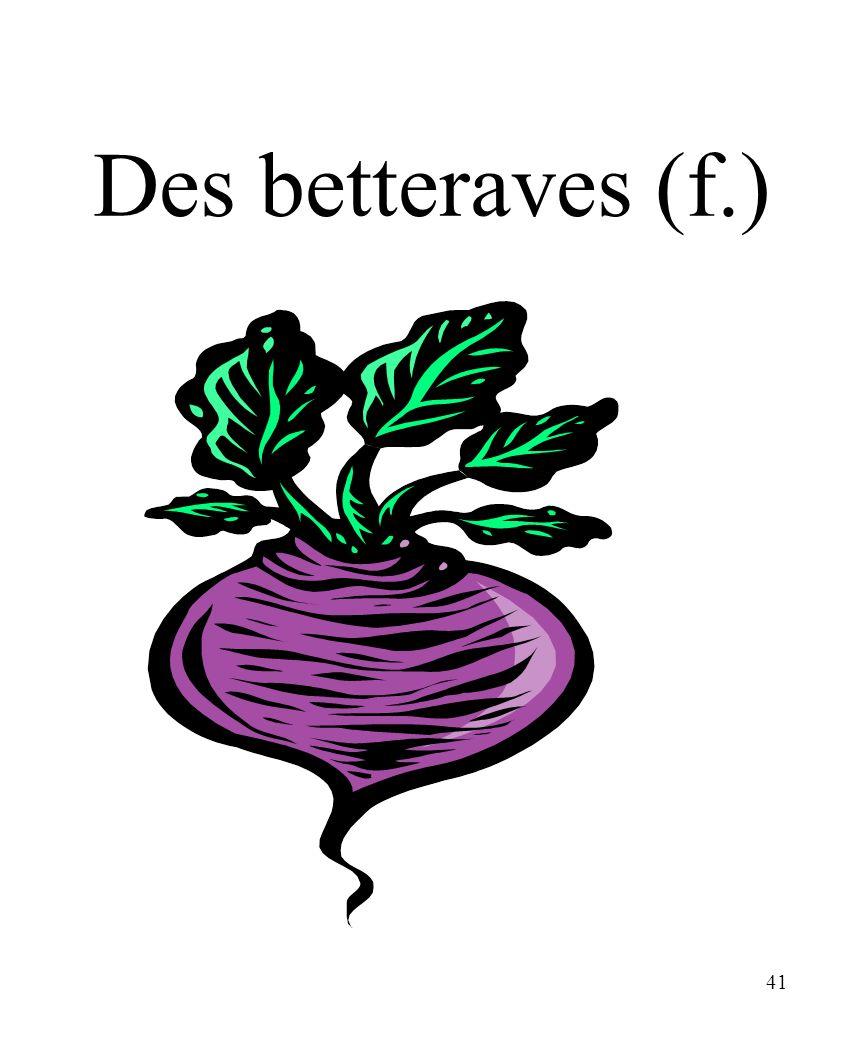 CHAPITRE 8 LES ALIMENTS 3/25/2017 Des betteraves (f.) Madame Craven