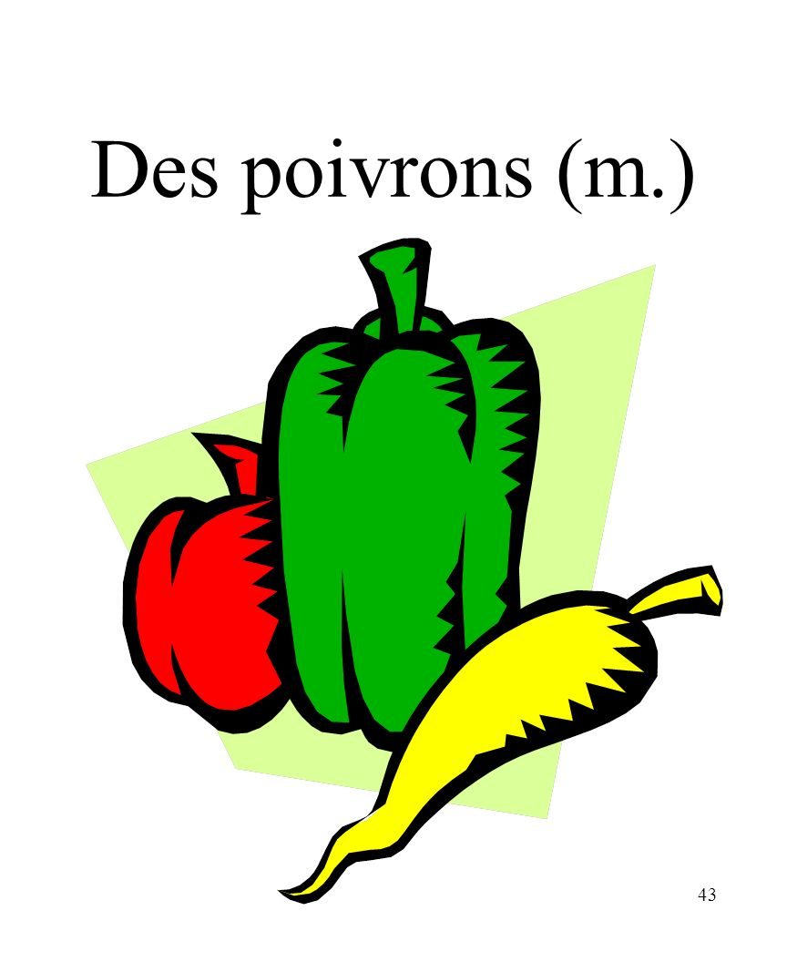 CHAPITRE 8 LES ALIMENTS 3/25/2017 Des poivrons (m.) Madame Craven
