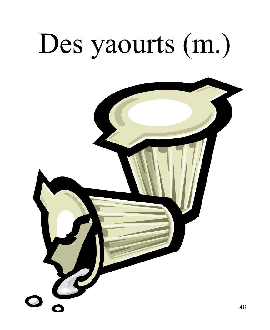 CHAPITRE 8 LES ALIMENTS 3/25/2017 Des yaourts (m.) Madame Craven