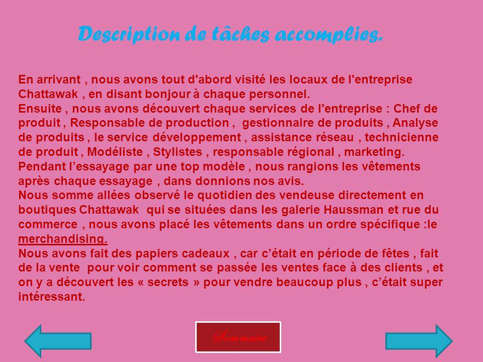 Description de tâches accomplies.
