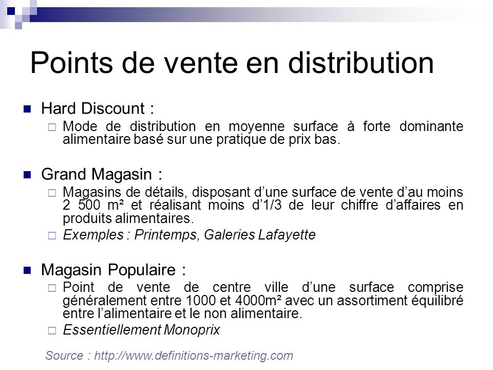 Points de vente en distribution