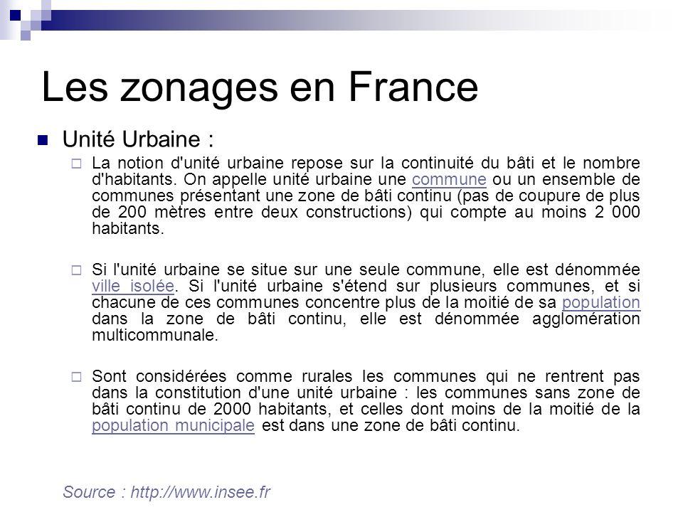 Les zonages en France Unité Urbaine :