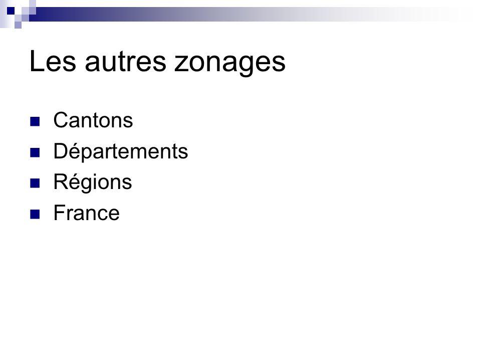 Les autres zonages Cantons Départements Régions France