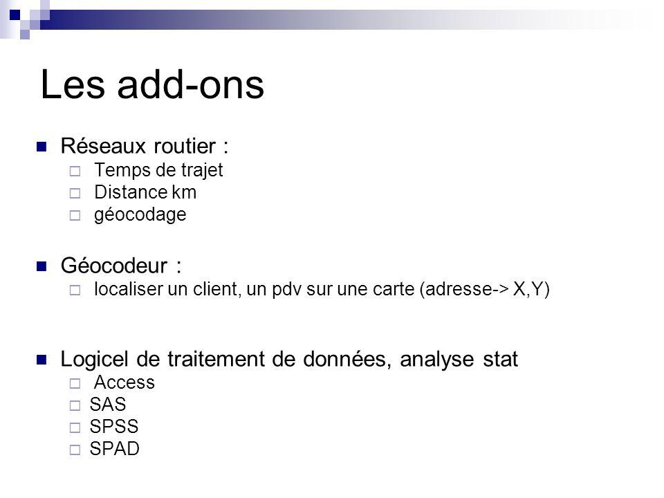 Les add-ons Réseaux routier : Géocodeur :