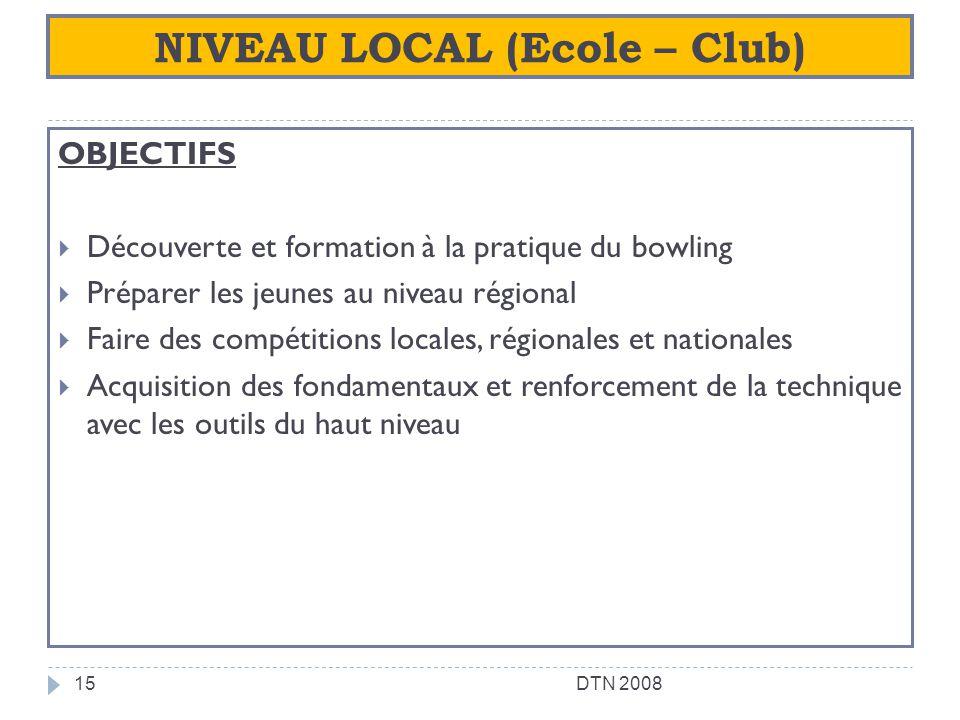 NIVEAU LOCAL (Ecole – Club)