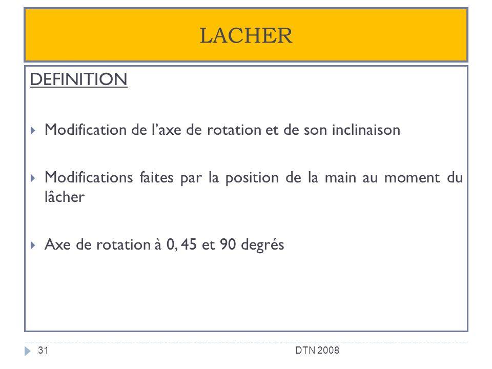 LACHER DEFINITION. Modification de l'axe de rotation et de son inclinaison. Modifications faites par la position de la main au moment du lâcher.