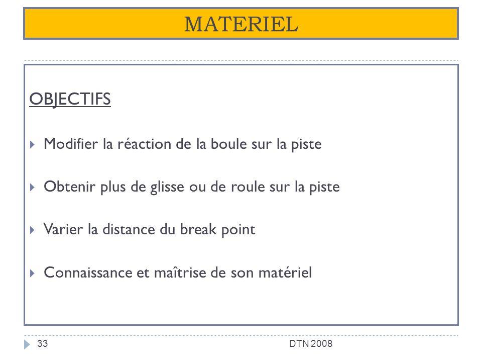 MATERIEL OBJECTIFS Modifier la réaction de la boule sur la piste