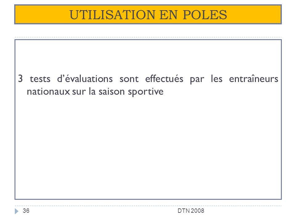 UTILISATION EN POLES 3 tests d'évaluations sont effectués par les entraîneurs nationaux sur la saison sportive.