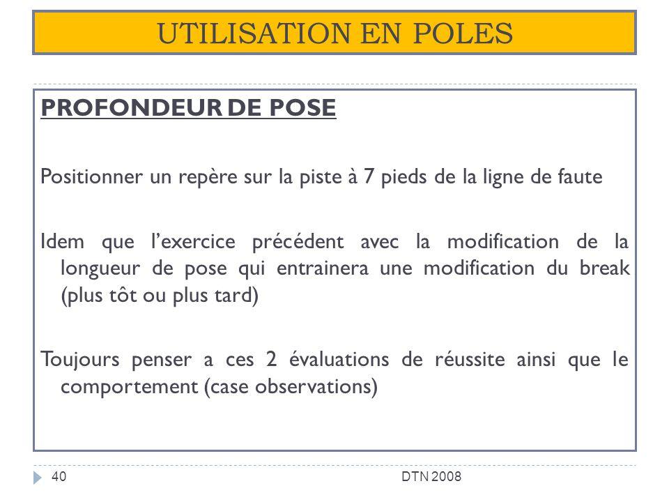 UTILISATION EN POLES PROFONDEUR DE POSE