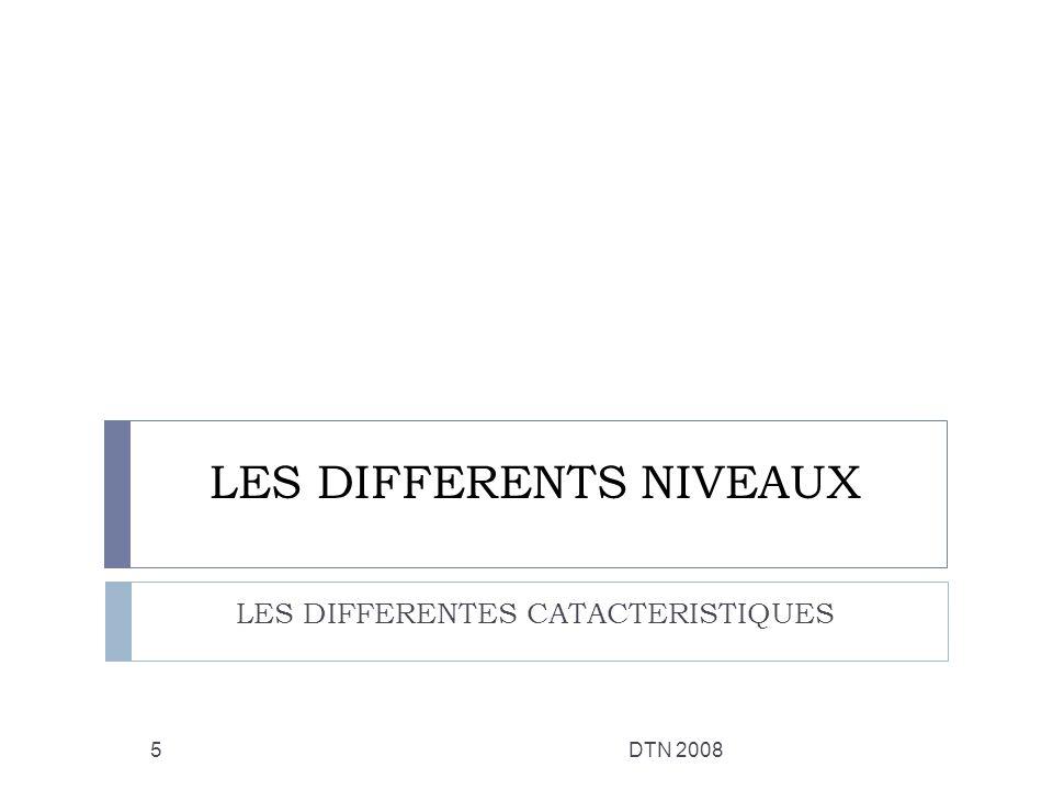 LES DIFFERENTS NIVEAUX